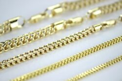 Authentic 10k Hollow Yellow Gold Franco Necklace Chain 1.5-4mm/16-40