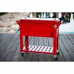 80 Qt. Patio Cooler Portable Rolling Cart Outdoor Home Party Ice Beer Chest New
