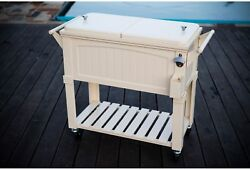 80 Qt. Patio Cooler Rolling Portable Outdoor Party Beer Drink Ice Chest Cart New