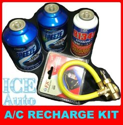 AC RECHARGE KIT 2x Johnsens 134A Freeze Plus + 1x FJC Ester Oil Charge + Hose