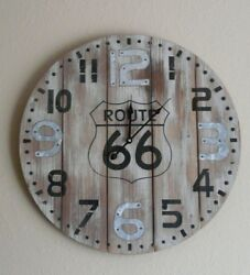 Route 66 Wooden Large Wall Clock Primitive Rustic Farmhouse Country Home Decor