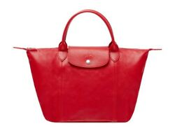 NWT LONGCHAMP Le Pliage CUIR Sml Leather Crossbody Bag 1512737 RED $495 AUTHNTC