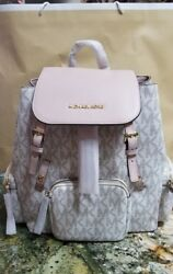 -NEW WOMENS MICHAEL KORS ABBEY LARGE CARGO SIGNATURE LEATHER BACKPACK