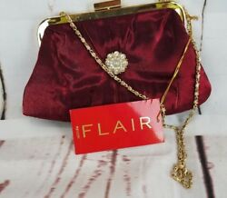 NWT ~Small Revlon Flair Evening Bag  Purse ~ Burgundy Gold Jewlery and Chain A8