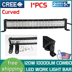 22inch 120w Cree Curved Led Light Bar Combo Beam Offroad Boat Driving Truck 4wd