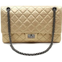 Chanel Auth Soft Gold 2.55 255 (ML) Reissue Flap Bag with Gunmetal HDW: $7980+
