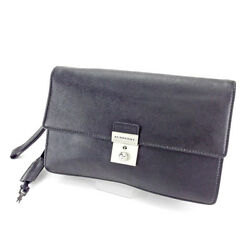 Burberry Clutch bag Black Silver Woman unisex Authentic Used T3596