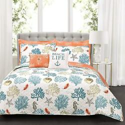 Lush Decor 7 Piece Coastal Reef Feather Quilt Set King Blue and Coral