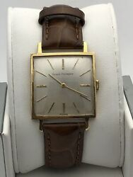 Girard Perregaux Menand039s 18k Gold Case Silver Dial Leather Band Watch 1308