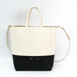 Celine Cabas SMALL VERTICAL 176163 Women's Leather Tote Bag BlackCream BF324054