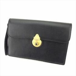 Burberry Clutch bag Black Gold Woman unisex Authentic Used T5874