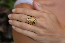 Snake Ring In 18k Yellow Gold With Bezel Set Emeralds