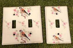 LIMOGES France Porcelain Birds & Floral Double Single Light Switch Plate Cover