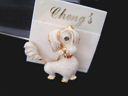 TERRIER GLITTER MOTION PIN GOLD TONE METAL NO STONE WHITE CHENGS