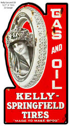 Kelly Springfield Tires Cut Out Reproduction Metal Sign 12.7x23.5