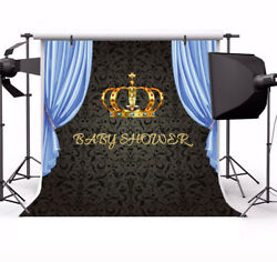 Baby Shower Blue Curtain 8x8ft Seamless Party Backgrounds Photography Bakdrops