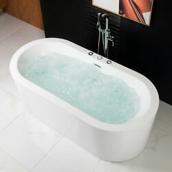 WOODBRIDGE 67quot; x 32quot; Whirlpool Water Jetted and Air Bubble Freestanding Bathtub