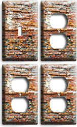RUSTIC BRICK STONE MORTER 1 SWITCH 3 OUTLET SET WALL PLATE COVER LOFT ROOM DECOR