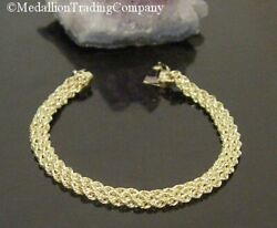 14k Yellow Gold 3 Row Rope Weave Link Mesh 8mm Wide Bola Bracelet 7.5 Inch