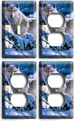 WILD GRAY WOLF WINTER FOREST 1 LIGHT SWITCH 3 OUTLET WALL PLATE COVER ROOM DECOR