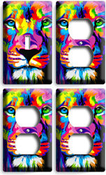 COLORFUL LION ABSTRACT ART 1 LIGHT SWITCH 3 OUTLET WALL PLATE COVERS ROOM DECOR