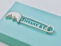 And Co Sterling Silver Man In The Moon Diaper Lapel Pin 2.40in Box 18710e