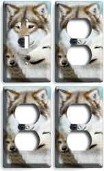 WILD GRAY WOLF FAMILY WINTER 1 LIGHT SWITCH 3 OUTLET WALL PLATE COVER ROOM DECOR