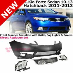 Replacement Front Bumper Cover Fog Light Upper Lower Grille For 10-13 Kia Forte