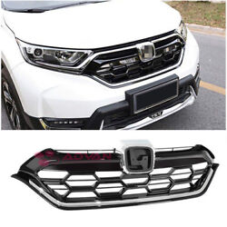 JDM Honeycomb Black Chrome Trim Front Grille Cover For 17-Up Honda CR-V CRV LX