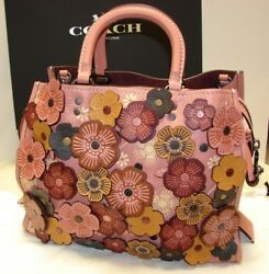 NWT COACH 59243 1941 MELON TEA ROSE APPLIQUE ROGUE Satchel bag ~ $1200 Floral