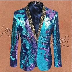 Mens Blazer Bling Sequins Performance Party Clubwear Bar Jacket Coat Stage Suits