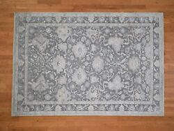 6and0391x8and0399 Handknotted Oushak Influence Silk Oxidized Wool Oriental Rug G41657