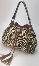 Raviani Baby Zebra Hair On And Red Croco Leather Drawstring Bag W/ Crystals Usa