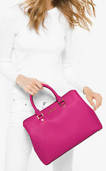 Michael Kors Savannah Large Saffiano Leather Satchel Bag Raspberry Pink Gold NWT