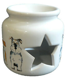 Dogs ceramic Oil Burner for wax melts essential oils or yankee tarts.