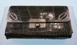 ALLIGATOR AND SILVER GREEN VINTAGE M.J DESIGNER HALLMARKED PURSE WALLET