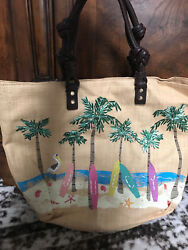 NWT JUICY COUTURE large tan leather straw rattan SURF beach purse tote bag-$325