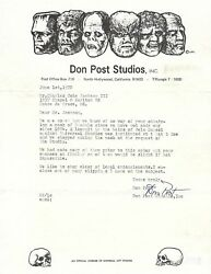 Don Post Signed Letter Dated June 1, 1972 The Godfather Of Halloween Rare