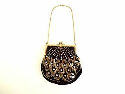 Antique 1890s-1910s Black Velvet Beaded and Sequined Evening Purse