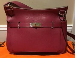 100% AUTHENTIC HERMES JYPSIERE 34 CLEMENCE AUBERGINE