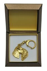 Kerry Blue Terrier - gold plated keyring with image of a dog in box ArtDog USA