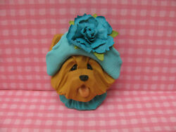 Handsculpted Yorkie Yorkshire Terrier in Aqua Hat with Flower Lapel Pin