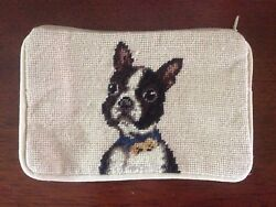 NEW BOSTON TERRIER Dog Needlepoint Wool Canvas Velvet Back Zip Pouch Case