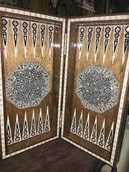 Egyptian Beech Wood Backgammon Inlaid Mother Of Pearl Wooden Board (16