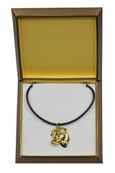 Jack Russel Terrier - gold plated necklace with dog in box Art Dog USA