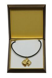 Soft Coated Wheaten Terrier - gold plated necklace with dog in box Art Dog USA