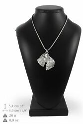 Kerry Blue Terrier - silver plated necklace on silver cord Art Dog USA