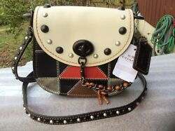NWT COACH SADDLE 17 STUDDED CHALK MULTICOLOR LEATHER CROSSBODY SHLDR BAG