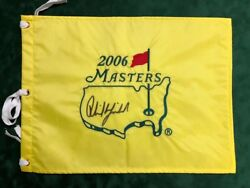 Phil Mickelson Signed Autograph Aftal Coa 2006 Masters Golf Flag Us Winner