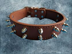DOG SPIKE COLLAR MEDIUM LARGE LEATHER DOG PIT BULLY BREED BOXER BULL TERRIER